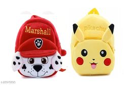 Krently Marshall-Pikachu Soft Velvet Kids School/Nursery/Picnic/Carry/Travelling Bag - 2 to 5 Age Waterproof Backpack (Red,Yellow, 14 L)