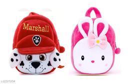 Krently Marshall-NaughtyGirl Soft Velvet Kids School/Nursery/Picnic/Carry/Travelling Bag - 2 to 5 Age Waterproof Backpack (Red,Pink, 14 L)