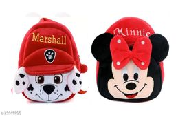 Krently Marshall-Minnie Soft Velvet Kids School/Nursery/Picnic/Carry/Travelling Bag - 2 to 5 Age Waterproof Backpack (Red,Red, 14 L)
