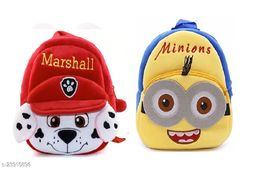 Krently Marshall-Minions Soft Velvet Kids School/Nursery/Picnic/Carry/Travelling Bag - 2 to 5 Age Waterproof Backpack (Red,Yellow, 14 L)