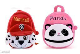 Krently Marshall-Panda Soft Velvet Kids School/Nursery/Picnic/Carry/Travelling Bag - 2 to 5 Age Waterproof Backpack (Red,Pink, 14 L)