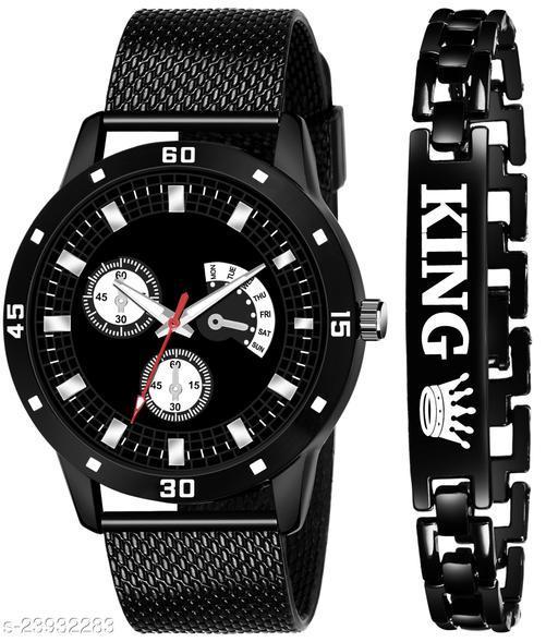 KJR_492 King Black Stylish Design Combo Analog Watch For Men