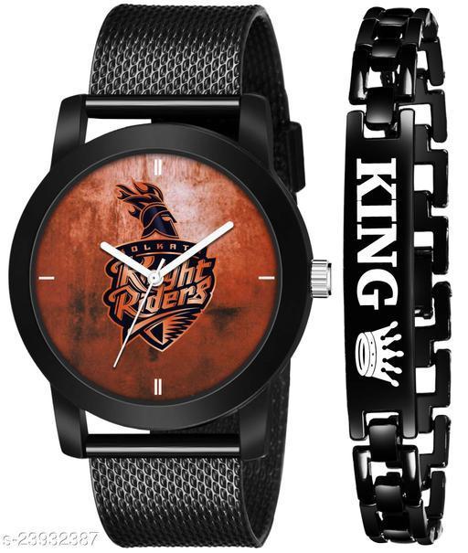 IPL-KKR King Black Stylish Design Combo Analog Watch For Men