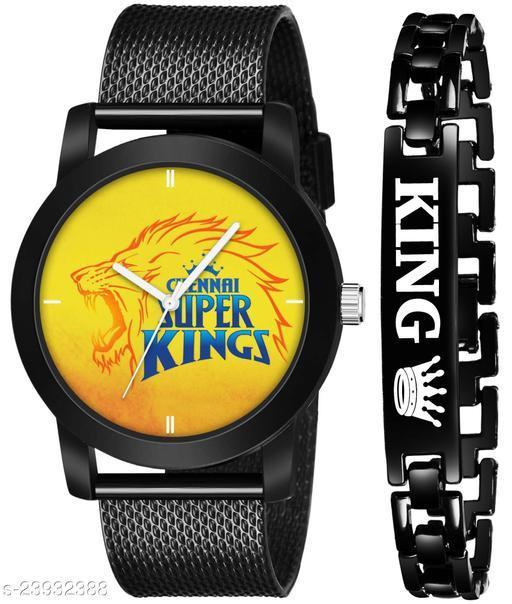 IPL-CSK King Black Stylish Design Combo Analog Watch For Men