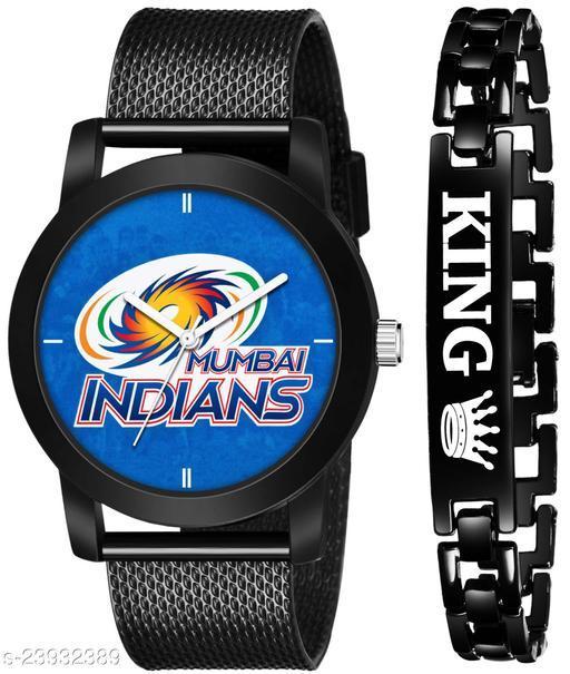 IPL-MI King Black Stylish Design Combo Analog Watch For Men