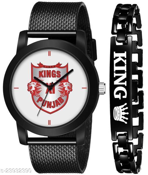 IPL-KXIP King Black Stylish Design Combo Analog Watch For Men