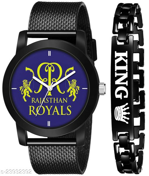 IPL-RR King Black Stylish Design Combo Analog Watch For Men
