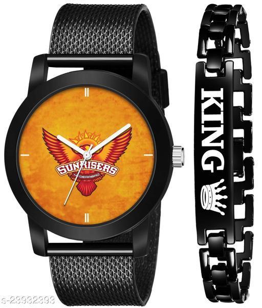 IPL-SRH King Black Stylish Design Combo Analog Watch For Men