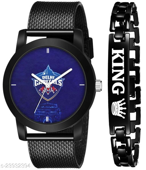 IPL-DC King Black Stylish Design Combo Analog Watch For Men