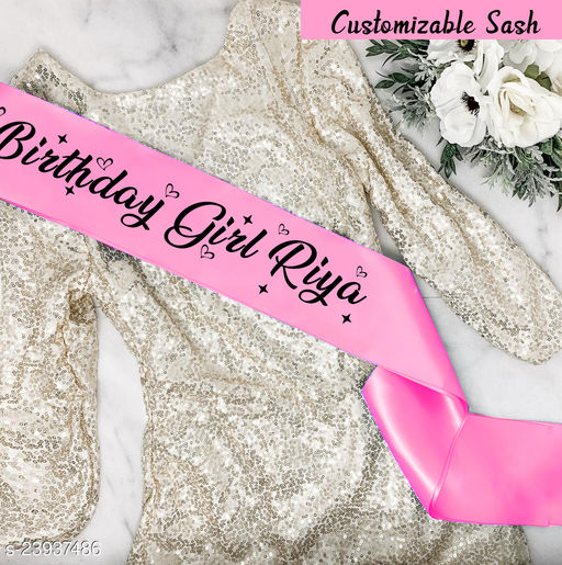 Style Secrets Shimmering Satin Pink Customizable Birthday Girl Sash with Your or Your Beloved Name