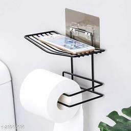 Toilet Paper Holder Shelf Tissue Roll Towel Storage Rack Adhesive Mobile Phone Dispenser Hanger Organizer Bathroom Art-Black