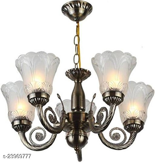 Afast Chandelier with Engraved Transparent Glass Lamps