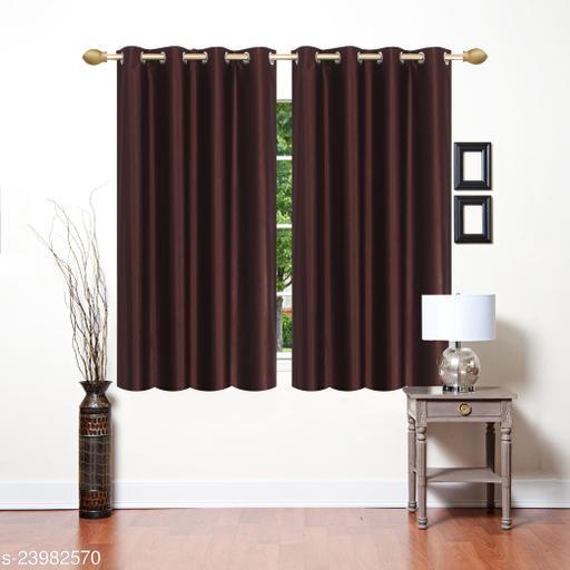 Heavy 24 Kg Quality Long Crush Fabric Dark Brown (Coffee) 5 Feet Window Curtain Pack of 2