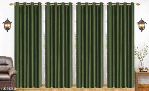 Heavy 24 Kg Quality Long Crush Fabric Dark Green 7 Feet Door Curtain Pack of 4
