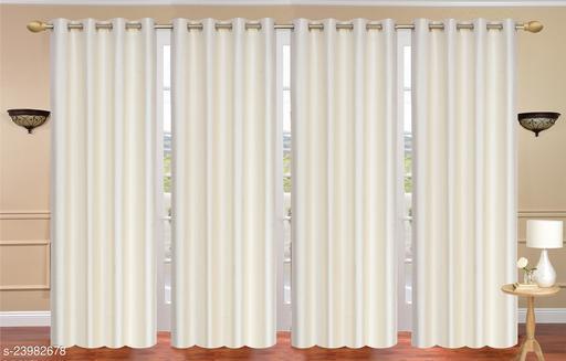Heavy 24 Kg Quality Long Crush Fabric Beige (Cream) 7 Feet Door Curtain Pack of 4