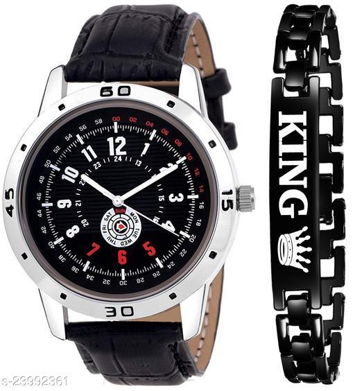 KJR_429 King Black Stylish Design Combo Analog Watch For Men