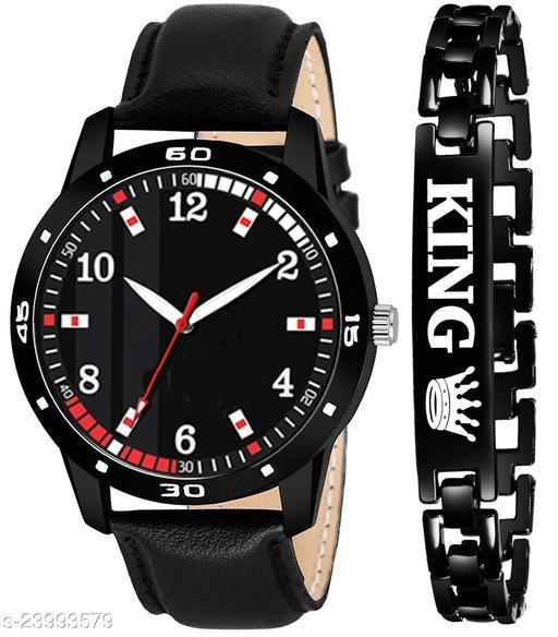 KJR_455 King Black Stylish Design Combo Analog Watch For Men