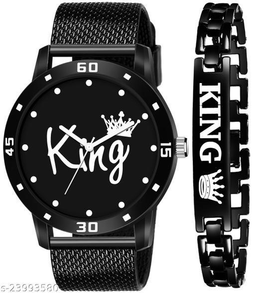 KJR_402 King Blue Stylish Design Combo Analog Watch For Men
