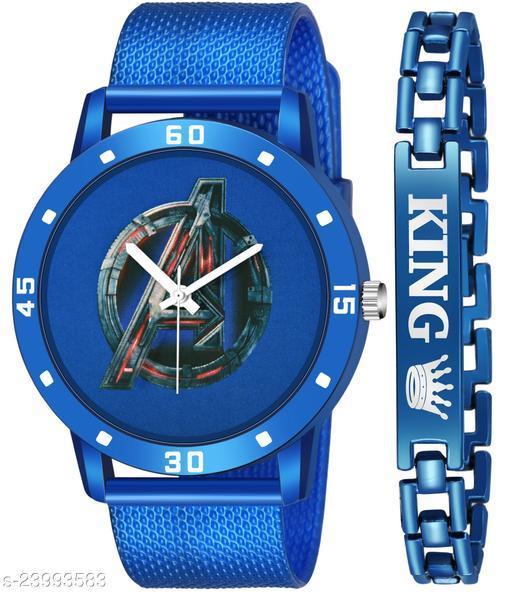 Blue Avenger King Blue Stylish Design Combo Analog Watch For Men