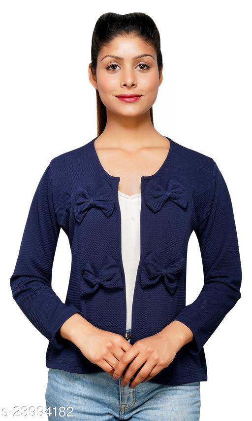 Women Navy Blue Solid Bow Tie Shrug ,Self design open front crop shrug, Soft and Smoothing fabric & Extra stretchable, Very Light Weight, For Summers And Winters Fabric Poly Lycra