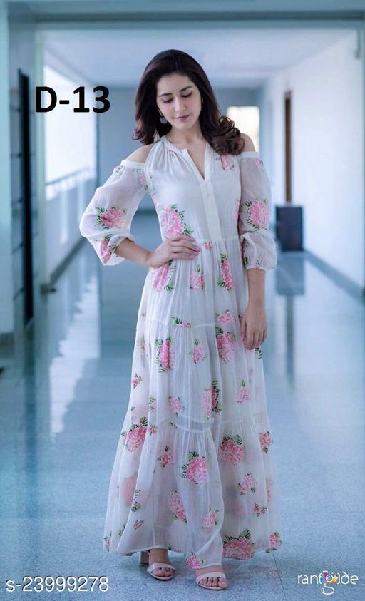 Designer Wear Cold Shoulder Long White Printed Faux Georgette Gown