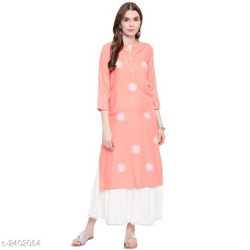 Kurta Sets Women's Embroidered Rayon Kurta set with Skirt  *Fabric* Kurti - Embroidered, Bottom - Embroidered  *Sleeves* Sleeves Are Included  *Size* Kurti - S- 36 in, M- 38 in, L- 40 in, XL - 42 in, XXL - 44 in, 3XL - 46 in, Bottom - S- 28 in, M- 30 in, L - 32 in, XL  - 34 in, XXL - 36 in, 3XL - 38 in  *Length* Kurti - Up To 34 in, Bottom  - Up To 40 in  *Type* Stitched  *Description* It Has 1 Piece Of Kurti With 1 Piece Of Sharara Set  *Work* Kurti - Embroidered, Sharara - Embroidered  *Sizes Available* S, M, L, XL, XXL, XXXL *   Catalog Rating: ★3.8 (12)  Catalog Name: Women's Embroidered Rayon Kurta Sets CatalogID_321513 C74-SC1003 Code: 357-2402064-