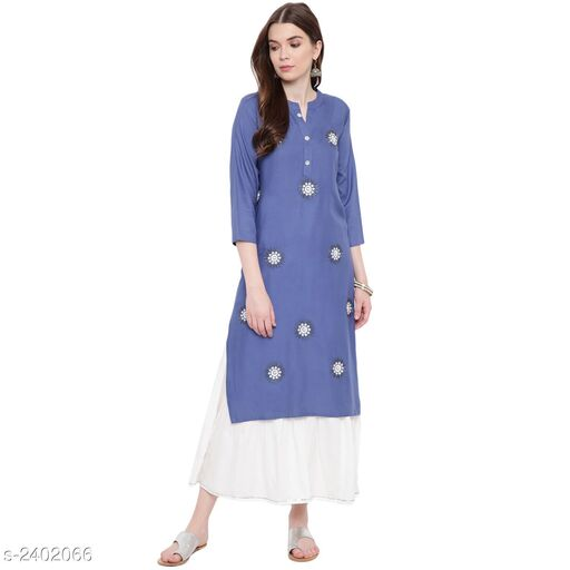 Kurta Sets Attractive Kurta Set  *Fabric* Kurti - Embroidered, Bottom - Embroidered  *Sleeves* Sleeves Are Included  *Size* Kurti - S- 36 in, M- 38 in, L- 40 in, XL - 42 in, XXL - 44 in, 3XL - 46 in, Bottom - S- 28 in, M- 30 in, L - 32 in, XL  - 34 in, XXL - 36 in, 3XL - 38 in  *Length* Kurti - Up To 34 in, Bottom  - Up To 40 in  *Type* Stitched  *Description* It Has 1 Piece Of Kurti With 1 Piece Of Sharara Set  *Work* Kurti - Embroidered, Sharara - Embroidered  *Sizes Available* S, M, L, XL, XXL, XXXL *   Catalog Rating: ★3.8 (12)  Catalog Name: Women's Embroidered Rayon Kurta Sets CatalogID_321513 C74-SC1003 Code: 357-2402066-
