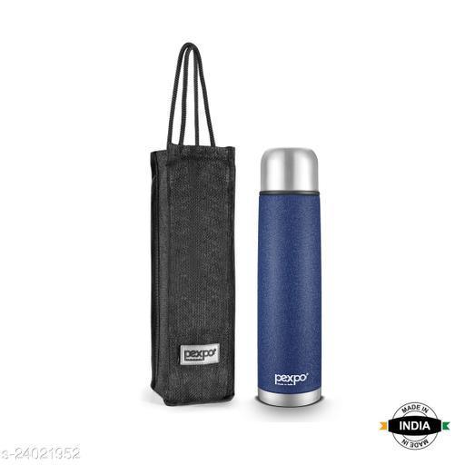 Pexpo Flamingo 1000 ML Tri-ply Vacuum Insulated Steel Bottle 3X Durable Blue Colour with Jute Bag