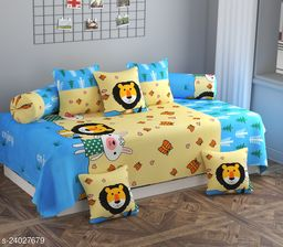 Apala® Beautiful 240 TC 100 % Microfiber Elegant Cartoon Pattern Diwan Set with 8 Pieces, One Single Bed Sheet with 5 Cushions Covers and 2 Bolster Covers (Sky Blue)