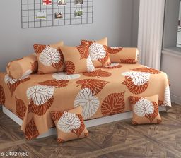 Apala® Beautiful 240 TC 100 % Microfiber Elegant Colourful Leaves Pattern Diwan Set with 8 Pieces, One Single Bed Sheet with 5 Cushions Covers and 2 Bolster Covers (Beige)