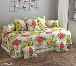 Apala® Beautiful 144 TC 100 % Polycotton Classic Elegant Floral Design Diwan Set with 8 Pieces, One Single Bed Sheet with 5 Cushions Covers and 2 Bolster Covers (Cream)