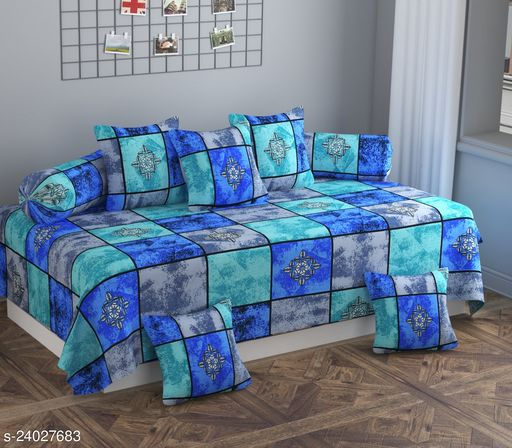 Apala® Beautiful 144 TC 100 % Polycotton Classic Elegant Color Box Design Diwan Set with 8 Pieces, One Single Bed Sheet with 5 Cushions Covers and 2 Bolster Covers (Blue)