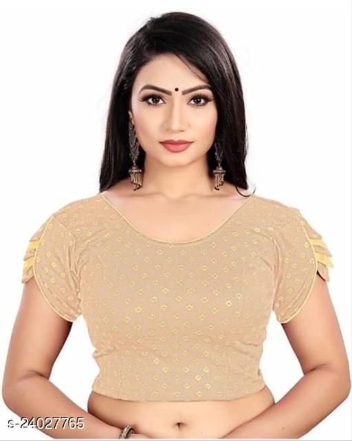 Round neck, designer sleeve stretchable lycra blouse