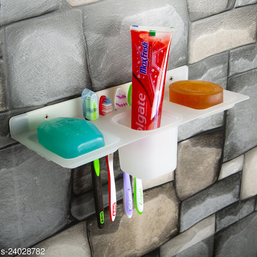 Avkar Products   ABS Plastic 4 in 1 Multipurpose Kitchen/Bathroom Shelf/Paste-Brush Stand/Soap Stand/Tumbler Holder/Bathroom Accessories  (Transparent)