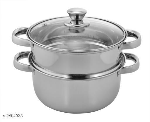 VINAYAK International Stainless Steel Silver 2 Tier Steamer and Cook Set 4.5 LTR (20 cm)