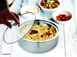 Vinayak International Stainless Steel Double Walled Chapatti Bowl/Roti Server with Glass lid 1300 ml | Size - 21.5 cm