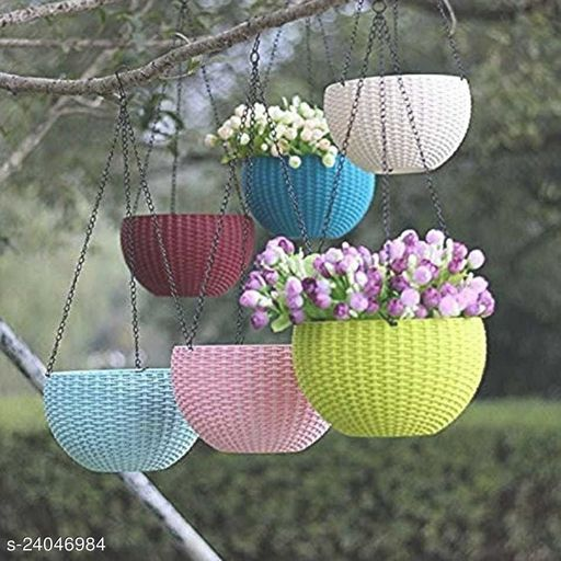 GreyFOX    High Quality 7 inch Colorful Hanging Pots with Metal Chain for Home & Garden Décor, Pack of 3 piece.