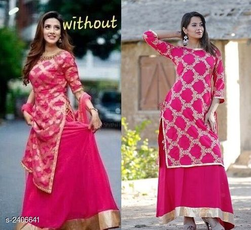 Kurta Sets Women's Printed Rayon Kurta Set with Skirt  *Fabric* Kurti - Rayon, Skirt - Rayon  *Sleeves* Sleeves Are Included  *Size* Kurti  *Length* Kurti - Up To 40 in, Skirt - Up To 39 in  *Type* Stitched  *Description* It Has 1 Piece Of Kurti & 1 Piece Of Skirt  *Work* Kurti - Woven, Skirt - Lace Work  *Sizes Available* M, L, XL, XXL   Catalog Rating: ★4 (798) Supplier Rating: ★4 (1955) SKU: GoldySKirtKurtaSet38 Shipping charges: Rs1 (Non-refundable) Pkt. Weight Range: 300  Catalog Name: Collection of Women's Kurta Sets - Deepam Code: 895-2406641--117