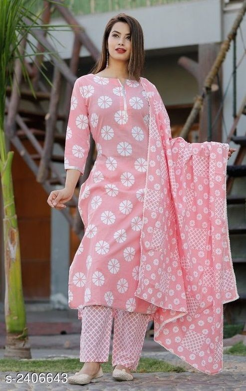 Kurta Sets Women's Floral Printed Cotton Kurta Set with Pants  *Fabric* Kurti - Cotton, Palazzo - Cotton, Dupatta - Cotton  *Sleeves* Sleeves Are Included  *Size* Kurti  *Length* Kurti - Up To 40 in, Palazzo - Up To 39 in  *Type* Stitched  *Description* It Has 1 Piece Of Kurti With 1 Piece Of Palazzo & 1 Piece Of Dupatta  *Work* Kurti - Printed, Palazzo - Printed, Dupatta - Printed  *Sizes Available* S, M, L, XL, XXL   Catalog Rating: ★4 (798) Supplier Rating: ★4 (1955) SKU: PinkChecksKpdset38 Shipping charges: Rs1 (Non-refundable) Pkt. Weight Range: 300  Catalog Name: Collection of Women's Kurta Sets - Deepam Code: 288-2406643--099
