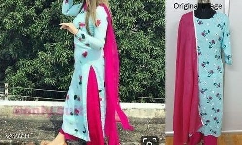 Kurta Sets Women's Floral Printed Rayon Kurta Set with Pants  *Fabric* Kurti - Rayon, Pant - Rayon, Dupatta - Rayon  *Sleeves* Sleeves Are Included  *Size* Kurti  *Length* Kurti - Up To 48 in, Pant - Up To 39 in  *Type* Stitched  *Description* It Has 1 Piece Of Kurti With 1 Piece Of Pant & 1 Piece Of Dupatta  *Work / Pattern* Kurti - Printed, Pant - Solid, Dupatta - Solid  *Sizes Available* S, M, L, XL, XXL   Catalog Rating: ★4 (798) Supplier Rating: ★4 (1955) SKU: Sunnykpdset38 Shipping charges: Rs1 (Non-refundable) Pkt. Weight Range: 300  Catalog Name: Collection of Women's Kurta Sets - Deepam Code: 856-2406644--967