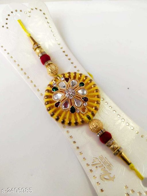 Rakhi Glitzy Stone Work Handmade Rakhi  *Material* Thread  *Description* It Has 1 Piece Of Rakhi  *Work* Stone Work  *Sizes Available* Free Size   Catalog Rating: ★4.3 (8) Supplier Rating: ★4 (35157) SKU: WA0010 Shipping charges: Rs1 (Non-refundable) Pkt. Weight Range: 30  Catalog Name: Glitzy Stone Work Handmade Rakhis Vol 3 - Sawariya collection Alw Code: 731-2406985--722