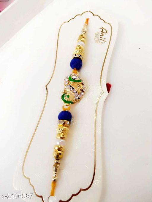 Rakhi Glitzy Stone Work Handmade Rakhi  *Material* Thread  *Description* It Has 1 Piece Of Rakhi  *Work* Stone Work  *Sizes Available* Free Size   Catalog Rating: ★4.3 (8) Supplier Rating: ★4 (35157) SKU: WA0012 Shipping charges: Rs1 (Non-refundable) Pkt. Weight Range: 30  Catalog Name: Glitzy Stone Work Handmade Rakhis Vol 3 - Sawariya collection Alw Code: 731-2406987--722