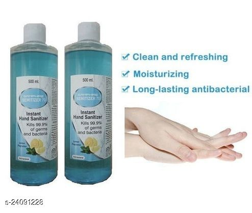 Instant Hand Sanitizer Kill 99.9% of Germs And Bacteris Lemon Fragrance Anti Bacterial Hand Senitizer 500ml Pack of 2