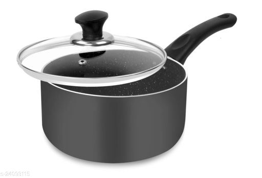 ETHICAL Mastreo Series Aluminium Non-Stick Sauce Pan 20cm Diameter with Glass Lid Induction Base
