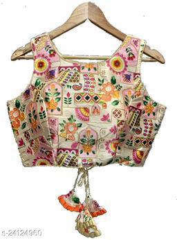 Women's Multicolor Thread Embroidery Handwork Phantom Silk Readymade Blouse
