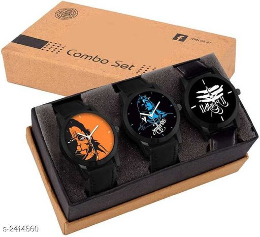 Trendy Leather Watches(Pack Of 3)