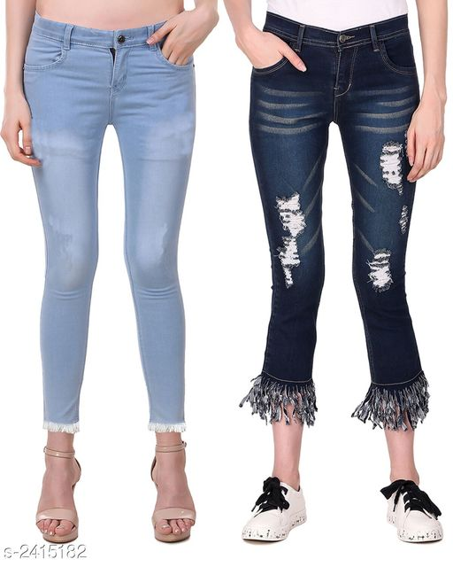 Jeans Ravishing Denim Women's Jeans Combo  *Fabric* Jean 1 - Denim, Jean 2 - Denim  *Size* 28 in, 30 in, 32 in, 34 in  *Length* Jean 1 - Up To 38 in, Jean 2 - Up To 38 in        *Type* Stitched  *Description* It Has 2 Pieces Of Women's Jeans  *Pattern* Jean 1 - Solid, Jean 2 - Rugged  *Sizes Available* 28, 30, 32, 34 *   Catalog Rating: ★4.6 (5)  Catalog Name: Modern Ravishing Denim Women's Jeans Combo Vol 14 CatalogID_323465 C79-SC1032 Code: 528-2415182-