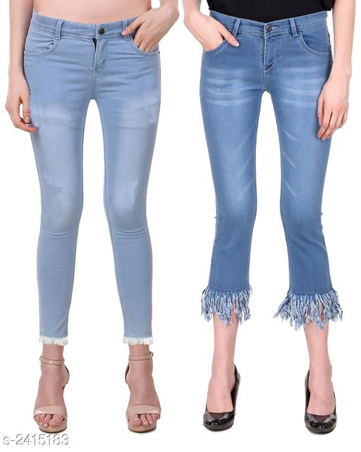 Jeans Ravishing Denim Women's Jeans Combo  *Fabric* Jean 1 - Denim, Jean 2 - Denim  *Size* 28 in, 30 in, 32 in, 34 in  *Length* Jean 1 - Up To 38 in, Jean 2 - Up To 36 in        *Type* Stitched  *Description* It Has 2 Pieces Of Women's Jeans  *Pattern* Jean 1 - Solid, Jean 2 - Rugged  *Sizes Available* 28, 30, 32, 34 *   Catalog Rating: ★4.6 (5)  Catalog Name: Modern Ravishing Denim Women's Jeans Combo Vol 14 CatalogID_323465 C79-SC1032 Code: 528-2415183-