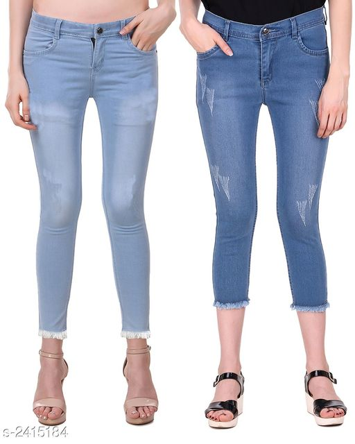 Jeans Ravishing Denim Women's Jeans Combo  *Fabric* Jean 1 - Denim, Jean 2 - Denim  *Size* 28 in, 30 in, 32 in, 34 in  *Length* Jean 1 - Up To 38 in, Jean 2 - Up To 36 in        *Type* Stitched  *Description* It Has 2 Pieces Of Women's Jeans  *Pattern* Jean 1 - Solid, Jean 2 - Rugged  *Sizes Available* 28, 30, 32, 34 *   Catalog Rating: ★4.6 (5)  Catalog Name: Modern Ravishing Denim Women's Jeans Combo Vol 14 CatalogID_323465 C79-SC1032 Code: 528-2415184-
