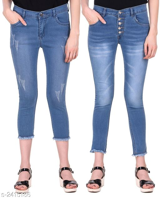 Jeans Ravishing Denim Women's Jeans Combo  *Fabric* Jean 1 - Denim, Jean 2 - Denim  *Size* 28 in, 30 in, 32 in, 34 in  *Length* Jean 1 - Up To 36 in, Jean 2 - Up To 38 in        *Type* Stitched  *Description* It Has 2 Pieces Of Women's Jeans  *Pattern* Jean 1 - Rugged, Jean 2 - Solid  *Sizes Available* 28, 30, 32, 34 *    Catalog Name: Modern Ravishing Denim Women's Jeans Combo Vol 14 CatalogID_323465 C79-SC1032 Code: 548-2415186-